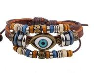 Cheap Men's bracelet fashion cow hide wood beads handmde accessories gift model simple grace special