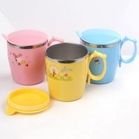 Wholesale Child Insulation Cup Kids Portable Travel Cute Stainless Steel Milk Bottle Cartoon Design Water Cup with Lid Blue Yellow Pink JD0067