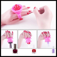 Wholesale 2016 Nail Polish Bottle Holder Flexible Wearable Tips Polish Varnish Stand Holder Pink Green Blue
