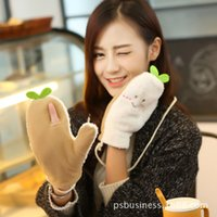 Wholesale New winter cute cartoon refers to the green bean sprouts gloves Add hair thickening warm hang rope mittens for lady