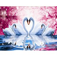 beadwork patterns - craft dmc diamond painting Swan with flowers pattern pictures rhinestones beadwork kits Wall Stickers x35cm HWB