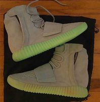 Wholesale 2016 New Boost Kanye West Noctilucent Light Grey Glow In The Dark Suede BB1840 SHOES grey gum Chocolate Brow