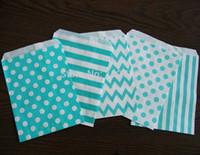 aqua gift bags - 120pcs mixed Styles Aqua Blue Stripes Dot Chevron Candy Bags Aqua Wedding Party Favor Bags Popcorn Bags Gift Bag