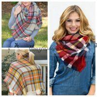 basic acrylic colors - 26 colors Fashion Winter New Tartan Scarf Plaid Blanket Scarf New Designer Unisex Acrylic Basic Shawls Women s Scarves Big Size M219