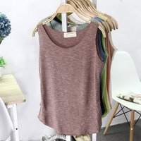 bamboo camisole - Summer Camisole Leisure Loose Yoga Vest Bamboo Cotton Seamless Jogging Running Fitness Tank Tops Women Sleeveless Sports Vest