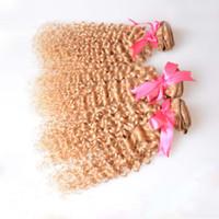 7A Cabello rubio brasileño de Remy de las extensiones del pelo rizado rubio Weave 3 paquetes Color 27 Cabello rubio rizado de la Virgen de Kinky