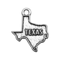 antique texas - Texas maps charm pendant double sides antique silver tone