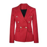 Wholesale fashion women s ladies females balmain Lions Herringbone metal buckle double breasted suit jacket blazer dress colors