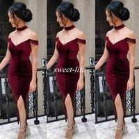 art deco necklaces - Burgundy Velvet Off Shoulder Cocktail Dresses Sexy Side Split Illusion Necklace Tea Length Prom Dress Cheap Arabic Women Evening Gowns