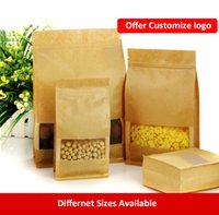 Wholesale Large Capability Kraft Paper Food Packaging Bag with Frosted Window for Food Nuts Cookie Candy Meat Beans