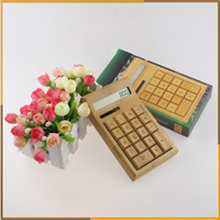 Wholesale Bamboo Solar Calculator Anti static digitals Solar power cell no batteries required Fashion Full bamboo construction
