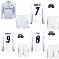 Wholesale 2016 Thailand Quality Real Madrid home jersey long sleeve Kit men sets Maillot de foot Ronaldo james bale benzema kroos modric