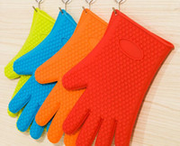 Wholesale Silicone BBQ Gloves High Quality Insulated Kitchen Tool Heat Resistant Glove Oven Pot Holder BBQ Baking Cooking Mitts Anti Slip Dots