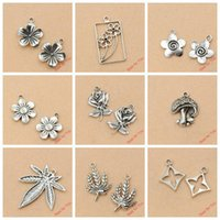 Wholesale Mixed Tibetan Silver Plated Flower Leaf Charms Pendants Jewelry Making Diy Charm Handmade Crafts
