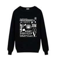 Wholesale BTS New Long Sleeve pullover Size S XL black white fleece for men women bangtan O neck