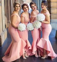 Wholesale Pink Mermaid Beach Bridesmaid Dresses V neck Lace Satin Maid Of Honor Dresses Sexy Cheap Wedding Party Gowns
