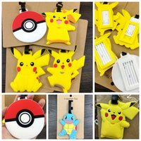 Wholesale Poke Luggage Tags Pikachu Charmander Squirtle Piplup Gengar Luggage Tags Suitcase TagTravel Silicone Poke ball Suitcase Tag LJJK526