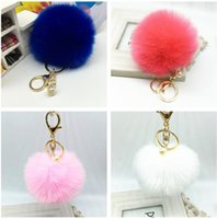 Wholesale Mix colors CM fake copy Faux Rabbit fur ball plush key chain for car key ring Bag Pendant car keychain