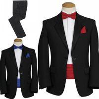 best belts trim - 2016 High Quality New Design Black Red Formal Groom Tuxedos Best Man Suits Groomsmen Men Wedding Suits Jacket Pants Bow Belt