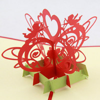 Wholesale Cupid flower heart in Pop up card greeting card love card wedding d invitation card greeting card
