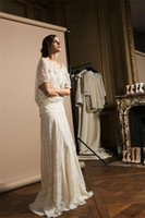 Wholesale Wedding Dresses Scoop Full Sleeves Lace dress Draped Natural Off the Shoulder Floor Length None Train dress