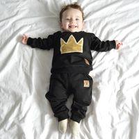 baby garments design - Baby Clothing Black Two Pieces Babies Boys Wear Clothing Set Patch Design Winter Spring Kids Garments Cotton Cheap Boutique Suit