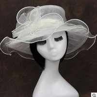 Wholesale Wide Brim Hats womens Organza Hat Kentucky Derby Wedding Church Party Floral Hat wide brim sun summer hats for women colors top quality