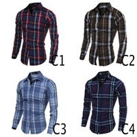 Wholesale 2016 Men Casual Shirts Classic Plaid Pattern Long Sleeve Shirt Slim Fit And Soft Men Dress Colors M To xl
