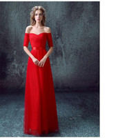 Wholesale Show Bandage Dresses - The Latest Red Short Evening Sleeved Deep V Collar Bride Dinner Will Show Host Long Trade Dress