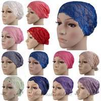 adult lace headbands - Hot Sale Fashion Women Lady Stretchy Lace Turban Headwrap Beanie Hat muslim Headband Bandana Hijab Pleated Indian Styles Caps Z372