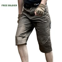 Wholesale FREE SOLDIER Military tactical shorts Men s summer outdoor breathable cropped trousers Loose multi pocket and anti scratch