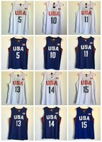 Wholesale 2016 New colors USA Kevin Durant Jersey Rio de Janeiro Stitched Paul George Jersey Dream team KlayThompson Shirts Shorts White Blue