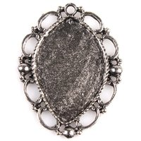 antique door fittings - Antique Silver Oval shape charms Arch Door Hollow Lace Cabochon Alloy Accessory Fit DIY mm