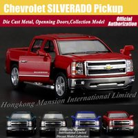 big scale model - 1 Scale Diecast Alloy Metal Car Model For Chevrolet SILVERADO Pickup Collectible Model Collection Pull Back Toys Car