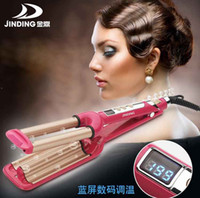 Wholesale AC220V V W Fashion Three Chicken rollers LCD control Ceramic Triple Barrels Curling Iron Deep Wave Curler Hair Waver