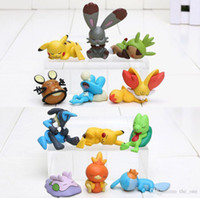Wholesale Poke toys Action Figures Small Model Toy Pikachu Torchic Treecko Sleeping mini small size in cm set two styles