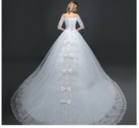 Wholesale Wedding dress the new bride Korean lace shoulder a word long sleeve wedding dress neat big yards show thin trailing in the spring