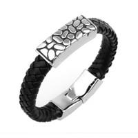 Wholesale High Quality Black Leather Bracelet for Women Men Unisex Design Bracelets Serpentine Stainless Steel Bangle Wristband Fashion Charm Jewelry