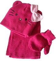 Wholesale Cute Cat with Bow Ears kid and children Winter Warm Knit Hat Scarf and Gloves Set Double Layer New Arrvial