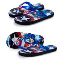 Wholesale 2016 new fashion child slippers flip Captain America cartoon slippers slip resistant breathable children sandals and slippers