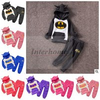 baby suit pants - Kids Batman Clothing Sets Batman Hoodies Pants Superhero Coat Trousers Baby Batman Jacket Pants Jumper Outwear Fashion Outfits Suits B488