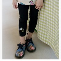 Wholesale 2016 New Children Leggings Fashion Trousers Bird Embroidery Patterns Leggings Leisure Pants Colors Size3 ly069
