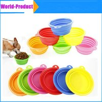 Wholesale Silicone Pet Dog Food Bowls Collapsible Feeding Feed Water Feeders Foldable Travel with colors
