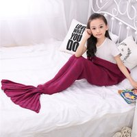 Wholesale Hot New Mermaid Tail Crochet Blanket Sleeping Sack Acrylic Novelty Child Gift Kids Care kits Flat Top