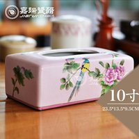 Wholesale Luxury Hand Painted ceramic tissue box for living room refillable pumping tissue paper holder table ornaments