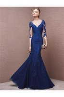 bandage dresses online - Sexy Royal Blue Evening Dresses Lace Long Sleeve V Neck Mermaid Evening Gowns Floor Length Tulle Celebrity Women Pageant Party Dress Online
