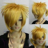 Cheap Hot heat resistant Kanekalon Party hair>>>Short Yellow Blonde Straight Ponytail Fibre Hair Halloween Costume Party Wig