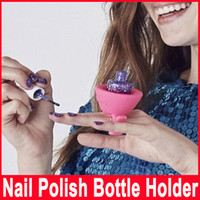 Wholesale 4 Colors Creative Beauty Care Convenience Nail Art Tools Artifact Sets Accessories Necessities Silica Gel Nail Polish Bottle Holder