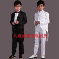 achat en gros de blanc ceinture de smoking-Enfants Noir Tuxedo Suit Boy Jazz Dance Magic Competition Afficher Costumes Chorus Taille 145-155 Pant + Coat + Ceinture + Tie Noir Blanc