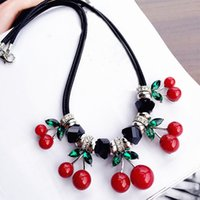 Wholesale Hot Sales cm wild green leaves cherry crystal pendant pendant female clavicle necklace Chinese style fashion temperament